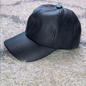 Fashion Nova Leather Like Cap Hat OS Black